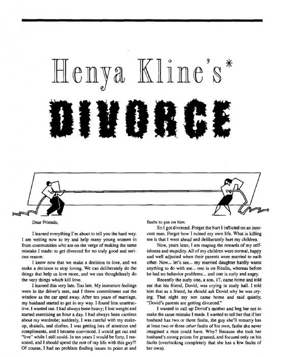 Henya Kline's Divorce